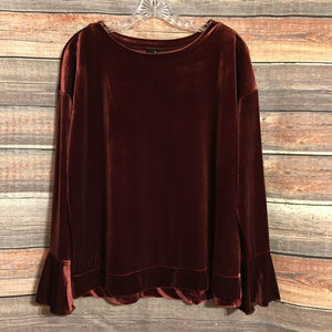 Worthington burgundy bell sleeve top